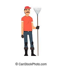 giardiniere, uomo, vettore, carattere, illustrazione, contadino, fattoria, maschio, lavorativo, standing, o, rastrello