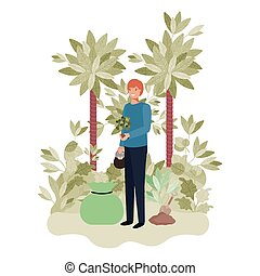 giardinieri, carattere, avatar, albero, uomo