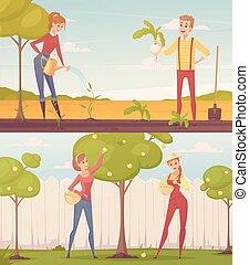 giardinieri, set, cartone animato, illustrazione