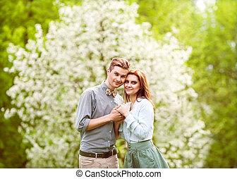 giardino, amore, mela, valentine, coppia, albero, azzurramento, sorridente, giorno