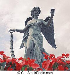 giardino, angelo, effetto, filtro, retro, scultura