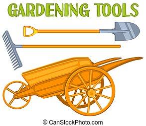 giardino, colorito, toolls, set., luminoso, cartone animato, cura
