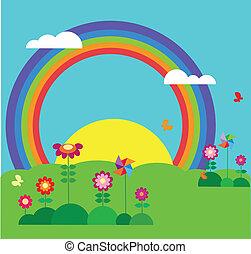 giardino, con, farfalla, arcobaleno, e, fiori