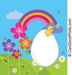 giardino, con, uovo di pasqua, e, fiori