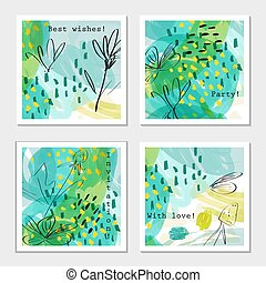 giardino, digiuno, verde, sketched, floreale, doodles