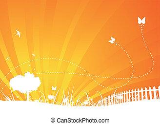 giardino, fondo, con, farfalle, e, rondini