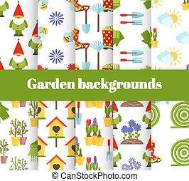 giardino, icone, illustrazione, mano, fondo, vettore, disegnato