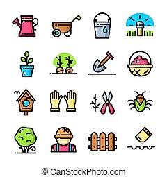 giardino, icone, set, illustrazione, vettore, linea sottile