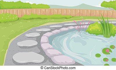 giardino, illustrazione, palude