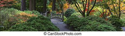giardino, legno, giapponese, oregon, portland, ponte