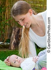 giardino, lei, madre, bambino, gioco, amare