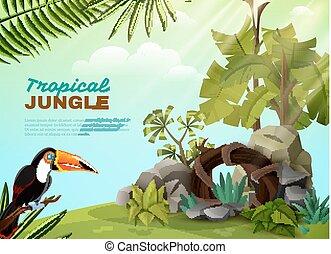 giardino, manifesto, tropicale, tucano, giungla, composizione