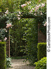 giardino, muro pietra, cancello