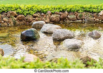 giardino pietra, creato, vaporizzazione, sole, day., umano, piccolo, fiume