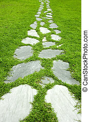 giardino, prenda sassate percorso