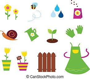 giardino, primavera, &, natura, icone