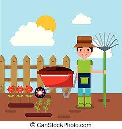 giardino, recinto, legno, rastrello, carattere, illustrazione, vettore, carriola, fiori, giardiniere