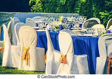 giardino, sedie, ristorazione, fondo, matrimonio, tavola
