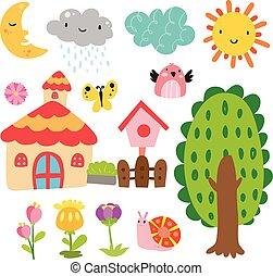 giardino, vettore, collezione, disegno