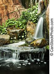 giardino, waterfalls.