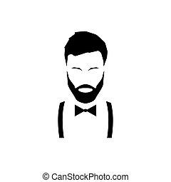 giarrettiere, tie., arco, hipster, avatar, barba