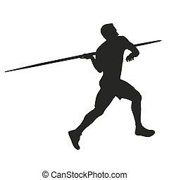 giavellotto, throw., atleta, silhouette