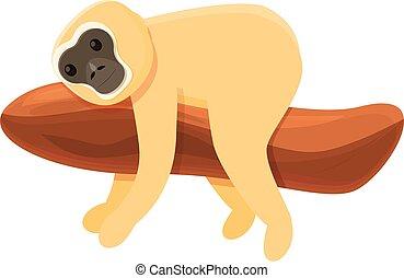 Gibbon animal icon, cartoon style