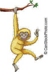 Gibbon - illustration of a gibbon hanging on a branch