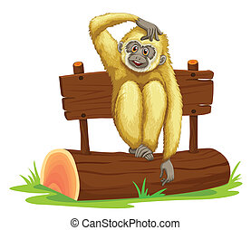 Gibbon sitting on log