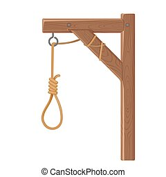 gibet, exécution, noose., justice, corde, vecteur, symbole., mort
