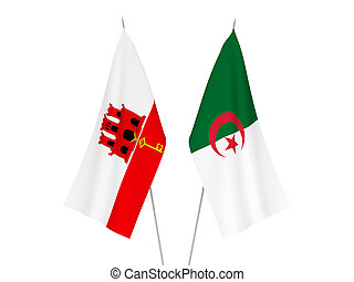 Gibraltar and Algeria flags - National fabric flags of ...