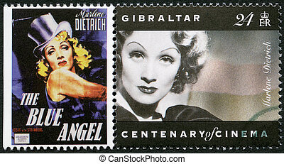 GIBRALTAR - CIRCA 1995: A stamp printed in Gibraltar shows Marlene Dietrich (1901-1992), actress and singer, circa 1995
