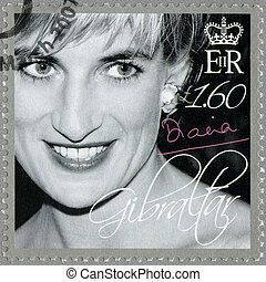 GIBRALTAR - CIRCA 2007 : A stamp printed in Gibraltar shows Diana (1981-1997), Princess of Wales Tribute, circa 2007