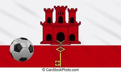 Gibraltar flag waving and football rotates, loop - Gibraltar...