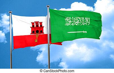 gibraltar flag with Saudi Arabia flag, 3D rendering