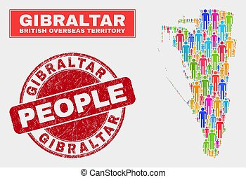 Gibraltar Map Population Demographics and Corroded Stamp ...