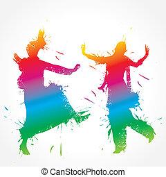 gidda, kleurrijke, bhangra, danser