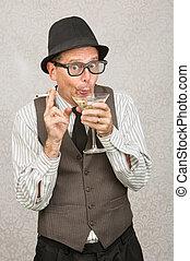 giddy, homem, bebendo
