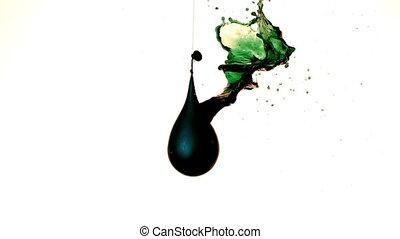 gießen, balloon, grün, flüssiglkeit