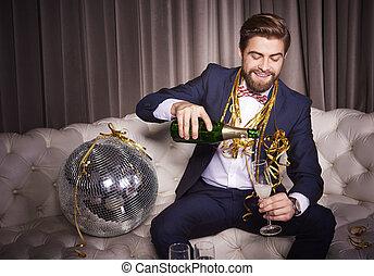gießen, klub, heiter, nacht, champagner, mann