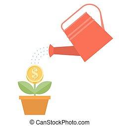 gießkanne, und, dollar, pflanze, in, po