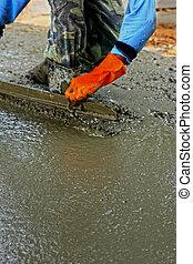 gieten, beton, malen, vermalen, voor, wegenbouw, workers.