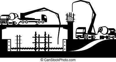 gieten, beton, op, bouwsector, si