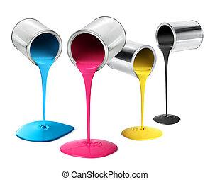 gieten, kleur, metaal, cmyk, verf dunne metaalplaat, blikjes