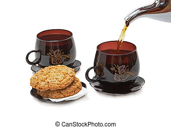 gieten, leven, koppen, koekjes, -, twee, tea., nog