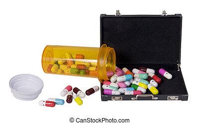 gieten, vrolijke , aktentas, pillen