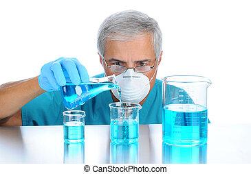 gieten, wetenschapper, vloeistoffen, bekers