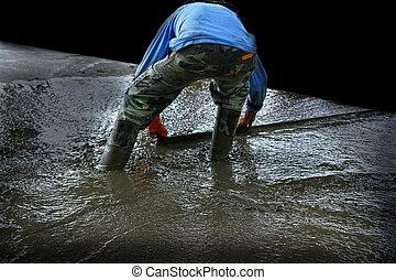gieten, workers., malen, vermalen, beton, bouwsector, straat
