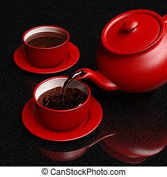 gietende koffie, coffeepot, rode kop