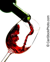 gietende wijn, rood, glas